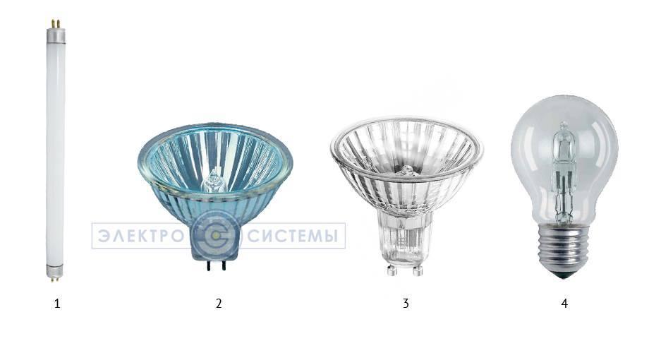 виды галогенных ламп