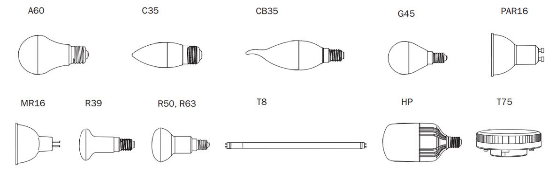 формы led ламп IEK