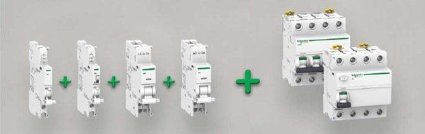 Аксессуары для модульных автоматов ACTI 9 : дистанционные расцепители сигнальные и вспомогательные контакты , моторные привода.